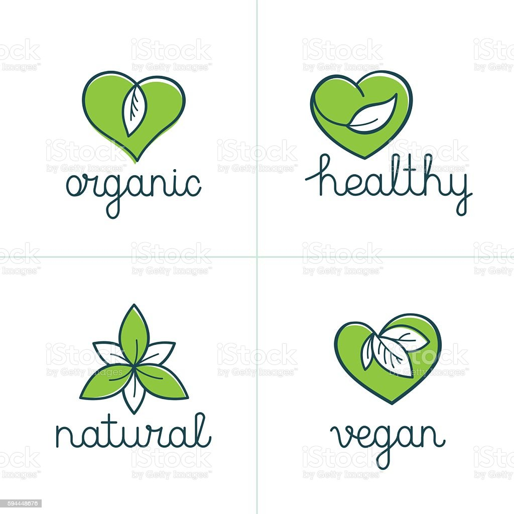Organic, healthy and vegan badges - emblems for vegetarian food vector art illustration
