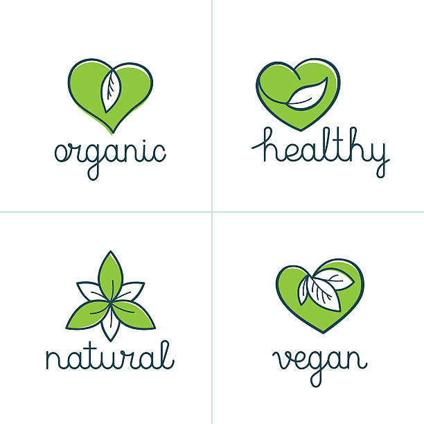 Organic, healthy and vegan badges - emblems for vegetarian food – Vektorgrafik