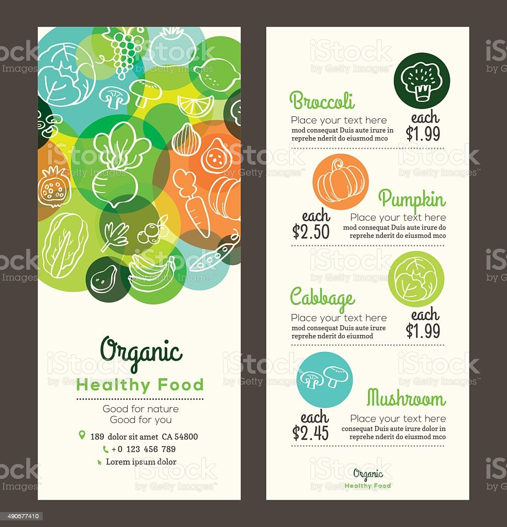Organic healthy food with fruits and vegetables menu flyer leaflet vector art illustration