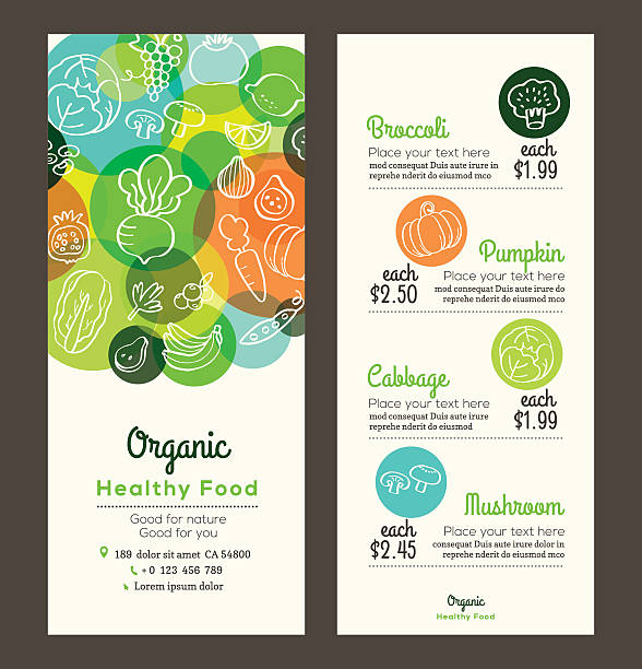 Organic healthy food with fruits and vegetables menu flyer leaflet Organic healthy food with fruits and vegetables doodles illustration design template for menu flyer leaflet fruit backgrounds stock illustrations