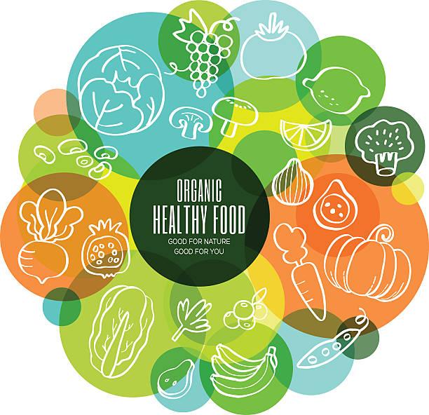illustrations, cliparts, dessins animés et icônes de fruits et légumes bio sain concept illustration - boisson et alimentation de bande dessinée