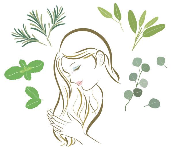 bildbanksillustrationer, clip art samt tecknat material och ikoner med organiska örter olika-hår vård kvinnor - japanese bath woman