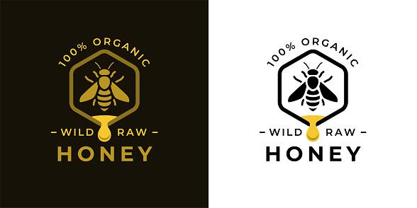 Organic honey bee label icon