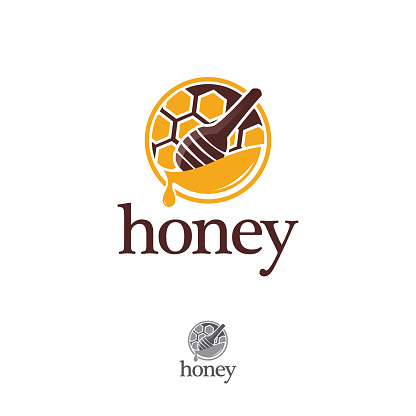 Organic honey linear logo, label, tags design elements. Concept for honey package, banner, wrapping. Abstract food background.