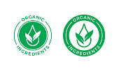 Organic ingredients green leaf and water drop label stamp. Vector icon vegan food or nature ingredients nutrition, organic bio pharmacy and natural skincare cosmetic product package logo design