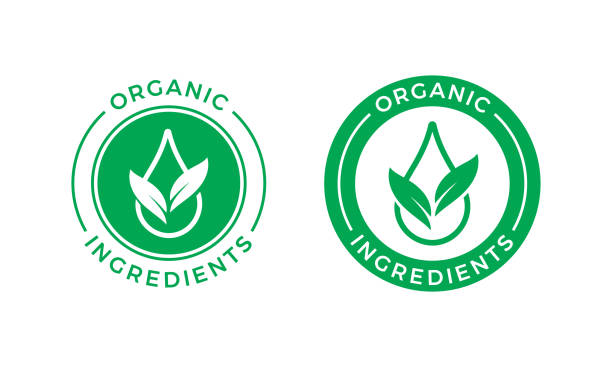 Organic ingredients green leaf and water drop label stamp. Vector icon vegan food or nature ingredients nutrition, organic bio pharmacy and natural skincare cosmetic product package logo design Organic ingredients green leaf and water drop label stamp. Vector icon vegan food or nature ingredients nutrition, organic bio pharmacy and natural skincare cosmetic product package logo design natural condition stock illustrations