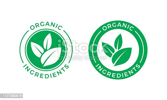 istock Organic ingredients green leaf label stamp. Vector icon vegan food or nature ingredients nutrition, organic bio pharmacy and natural skincare cosmetic product package logo design template 1127360519