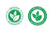 Organic ingredients green leaf label stamp. Vector icon vegan food or nature ingredients nutrition, organic bio pharmacy and natural skincare cosmetic product package logo design template