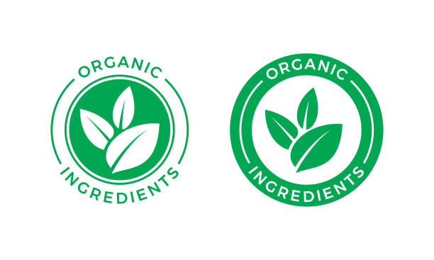 Organic ingredients green leaf label stamp. Vector icon vegan food or nature ingredients nutrition, organic bio pharmacy and natural skincare cosmetic product package logo design template Organic ingredients green leaf label stamp. Vector icon vegan food or nature ingredients nutrition, organic bio pharmacy and natural skincare cosmetic product package logo design template organic stock illustrations