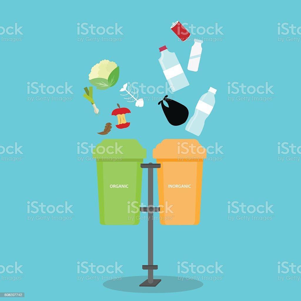 organic inorganic recycle garbage bin separation segregate  separate bottle degradable vector art illustration