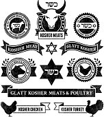 Organic Kosher Meat and Poultry black & white icon set