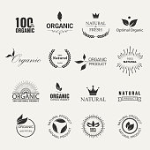 Set of Fresh Organic Icons and Elements