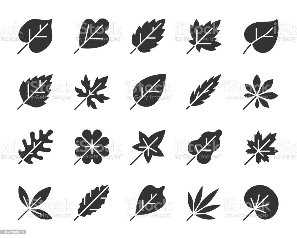 Organic Leaf black silhouette icons vector set vector art illustration