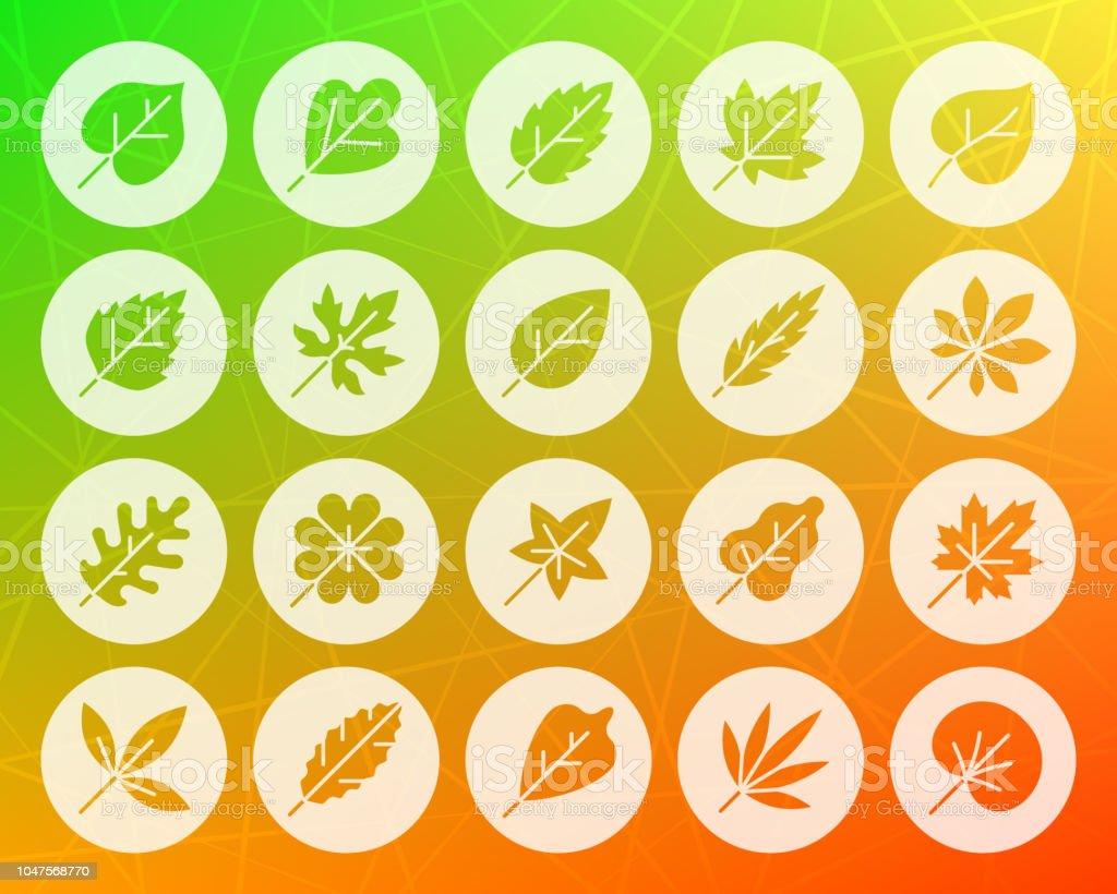 Organic Leaf shape carved flat icons vector set vector art illustration