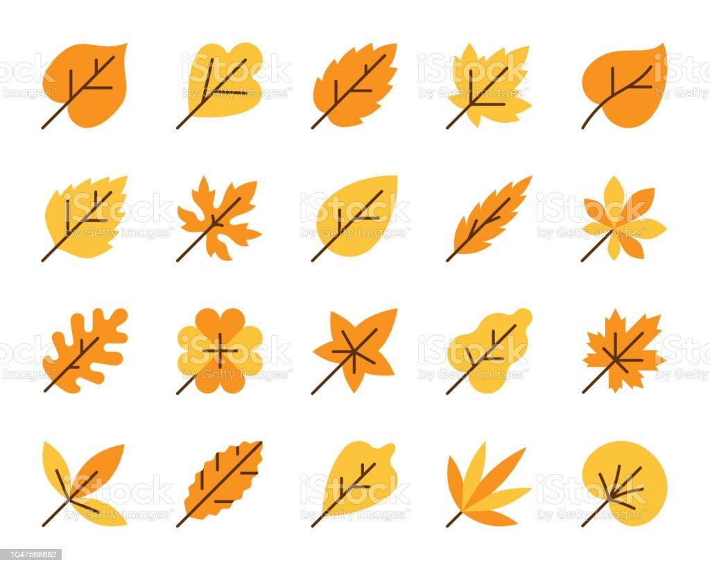 Organic Leaf simple flat color icons vector set vector art illustration