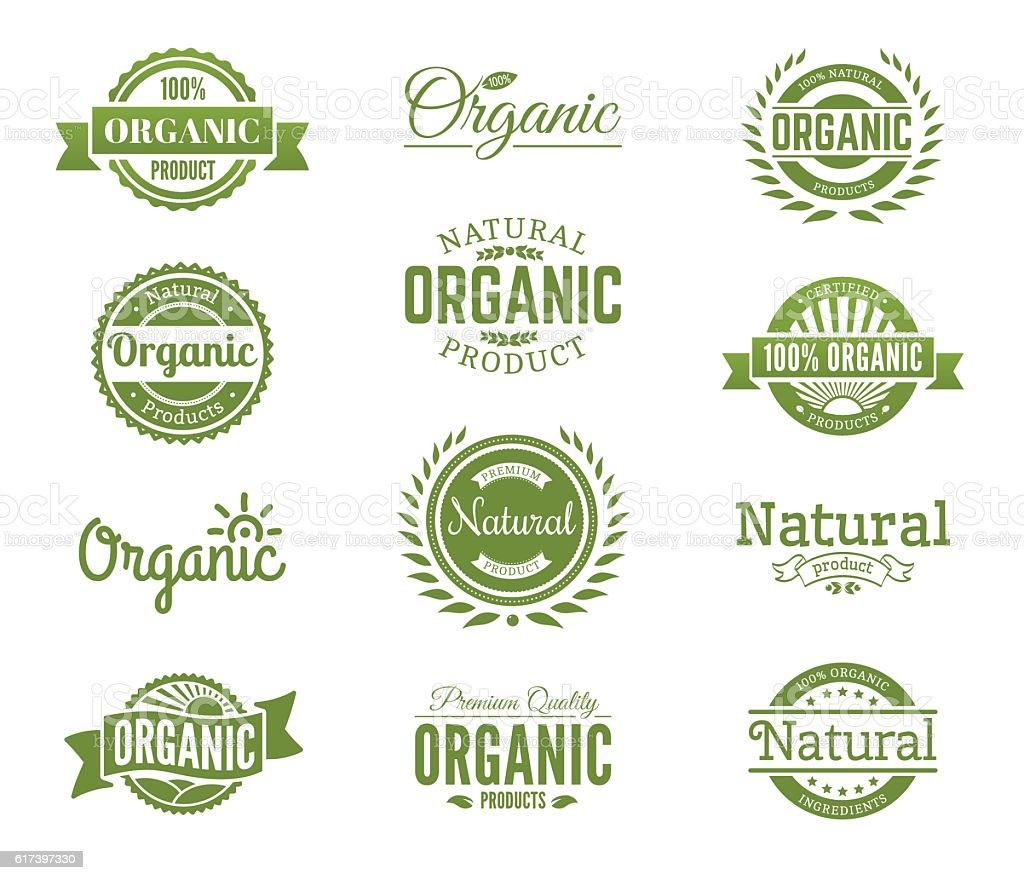 Organic logos. Natural food labels and bages collection. Vector - ilustración de arte vectorial