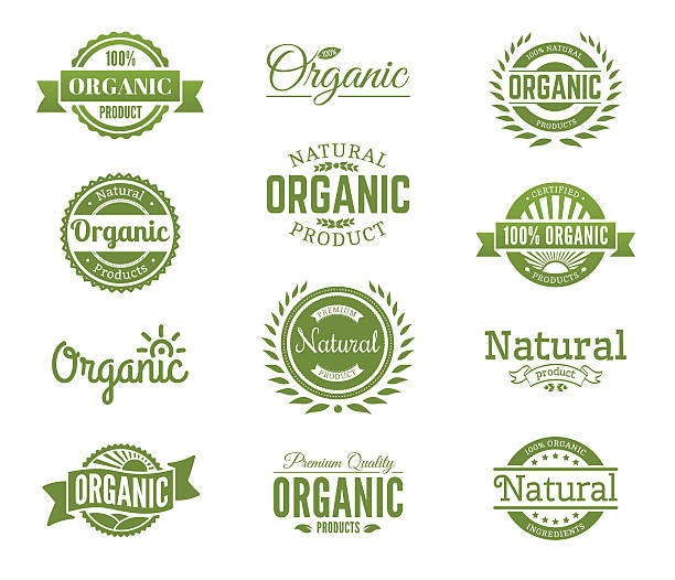 organic logos. natural food labels and bages collection. vector - organic stock illustrations, clip art, cartoons, & icons