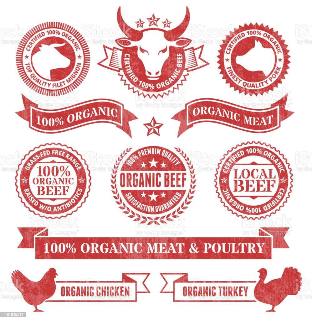 Organic Meat and Poultry Grunge royalty free vector icon set vector art illustration