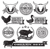 Organic Meat Poultry Grunge Black and White icon set