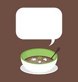 Organic mushroom soup on brown background
