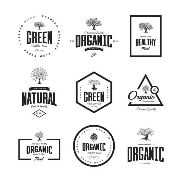 Organic natural and healthy farm fresh food retro emblem set. vector art illustration