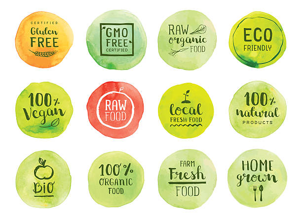 Organic natural food labels Editable set of vector labels on layers.  organic stock illustrations