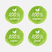 Organic, Natural, Vegan and Fresh Food Badge Design in Watercolor Style