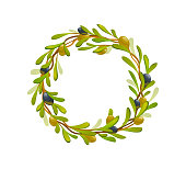 Organic olive products set. Wreath of black and green olives. Healthy organic products cartoon vector