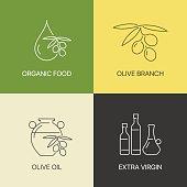 Organic olive thin line logo concept. Exceptional natural oil calligraphic elegant linear emblem.