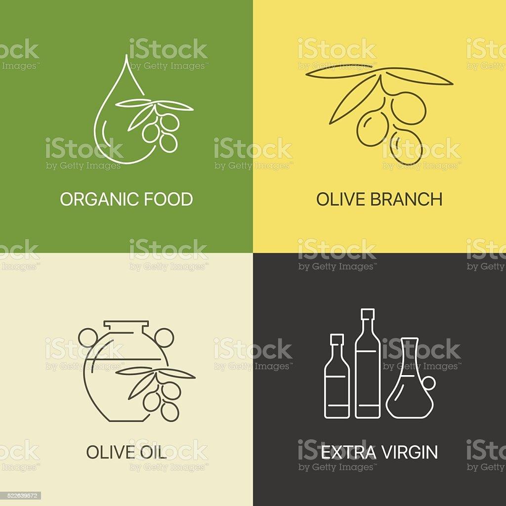 Azeitona orgânicos conceito do logotipo de linha fina - ilustração de arte vetorial