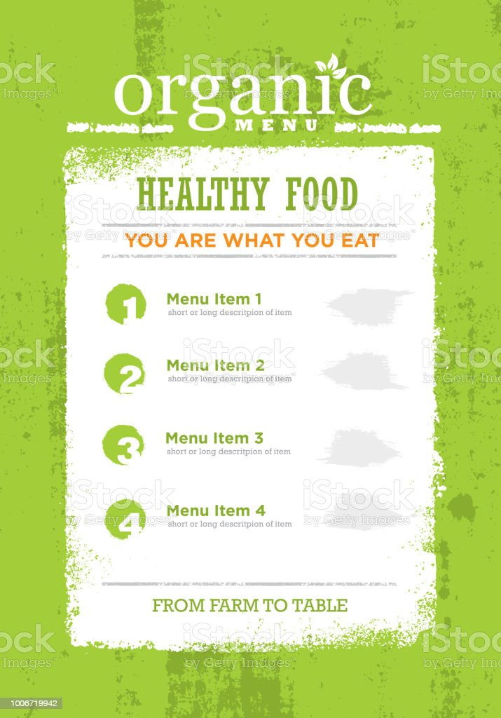 Concepto de menú comida orgánica áspero de Paleo. Elemento de diseño de marco eco verde Grunge sobre fondo con textura. - ilustración de arte vectorial