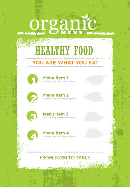 organic paleo rough food menu concept. eco green grunge frame design element on textured background. - paleo diet stock illustrations, clip art, cartoons, & icons