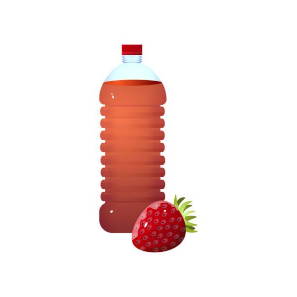 신선한 에코 딸기 식초의 유기농 플라스틱 병 - 몰도바 stock illustrations