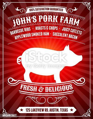 Organic Pork Farm Poster on Red Background