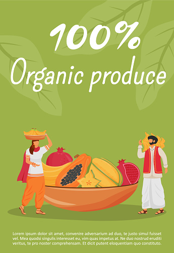 Organic produce poster flat vector template. Indian exotic fruits brochure, booklet one page concept design with cartoon character. Traditional natural desserts trade flyer, leaflet