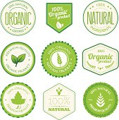 A set of organic product badges. All design elements are layered and grouped. Aics3 and Hi-res jpg files are included.