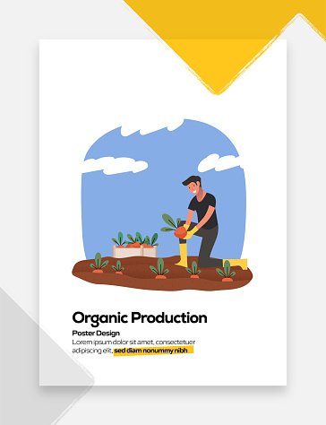 Organic Product Concept Flat Design for Posters, Covers and Banners. Modern Flat Design Vector Illustration.
