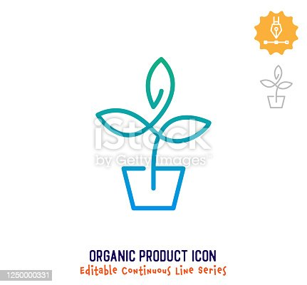 Organic product vector icon illustration for logo, emblem or symbol use. Part of continuous one line minimalistic drawing series. Design elements with editable gradient stroke.