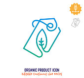 Organic product vector icon illustration for logo, emblem or symbol use. Part of continuous one line minimalistic drawing series. Design elements with editable gradient stroke line.