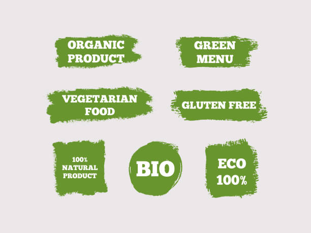 organic product, green menu, vegetarian food, gluten free, 100% natural, bio, eco. set of green logos. seven isolated stickers. sketch, grunge, graffiti. - vegetarian stock illustrations, clip art, cartoons, & icons
