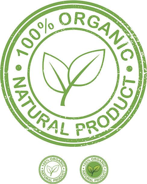 Organic product grunge stamp vector art illustration