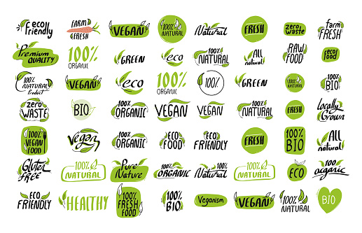 Organic Product Icon Set Vector Illustration Symbol Design Element