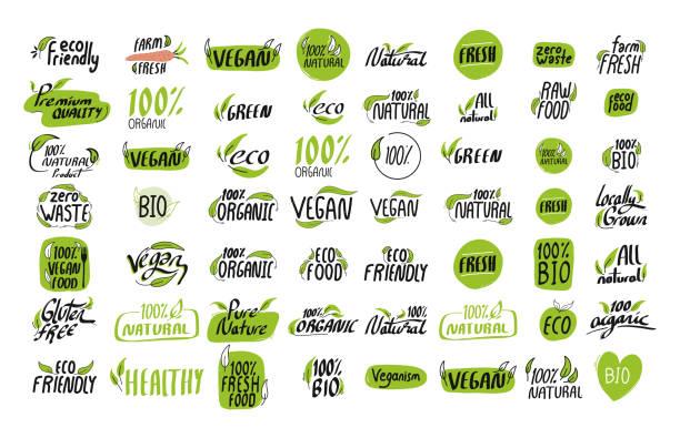 bildbanksillustrationer, clip art samt tecknat material och ikoner med designelement för vektorillustrationsillustrationsillustrationssymbol för organisk produktikon - vegetarian