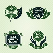 Organic product labels set. Background on separate layer. PNG file high resolution without background is also included.