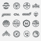 16 black and white vector labels for organic, bio and eco products. Isolated on white.