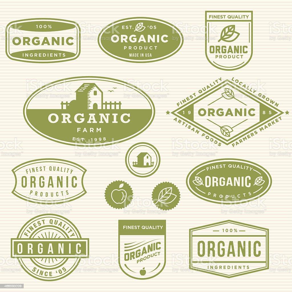 Organic Product Labels vector art illustration
