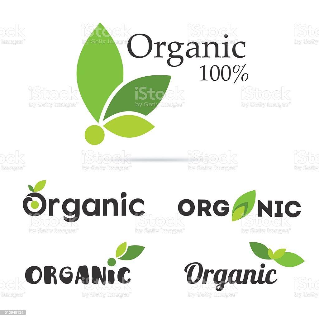100% organic product logo set. Natural food labels. Fresh farm vector art illustration