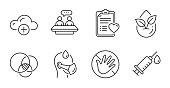 istock Organic product, Sick man and Medical syringe icons set. Employees talk, Euler diagram and Do not touch signs. Vector 1288682586