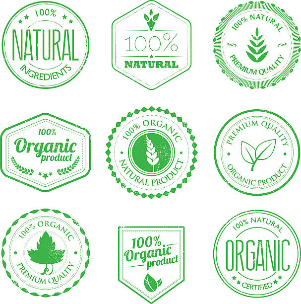 Organic product stamps set vector art illustration
