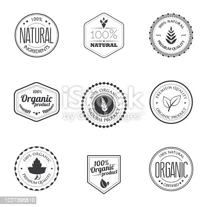 A set of black and white different kind organic product stamps isolated on white.